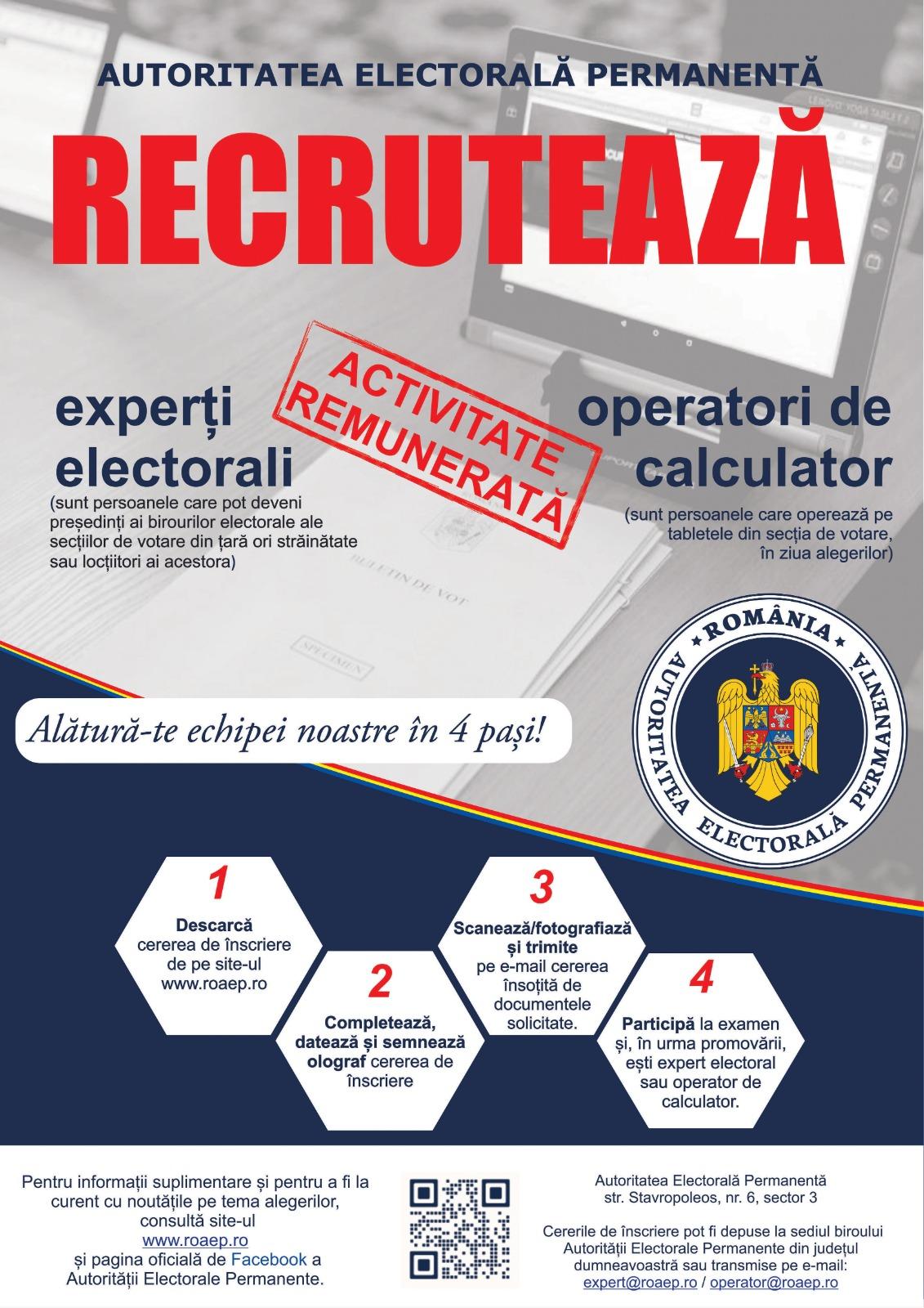 Vrei să devii expert electoral sau operator de calculator?